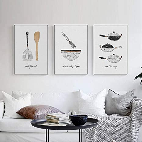 Amazon Com Modern Minimalist Kitchen Appliances Triptych Canvas Art Mural 3 Pieces Modern Simple Creative Canvas Hanging Painting Bedroom Living Room Triptych Photo Home Decoration Oil Painting B1 Paintings
