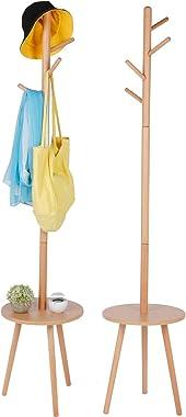 Zerodis Free-Standing Coat Rack, Wood Clothes Rack Stand Hanger Freestanding Coat Rack Stand with 4 Hooks Display Hall Tree w