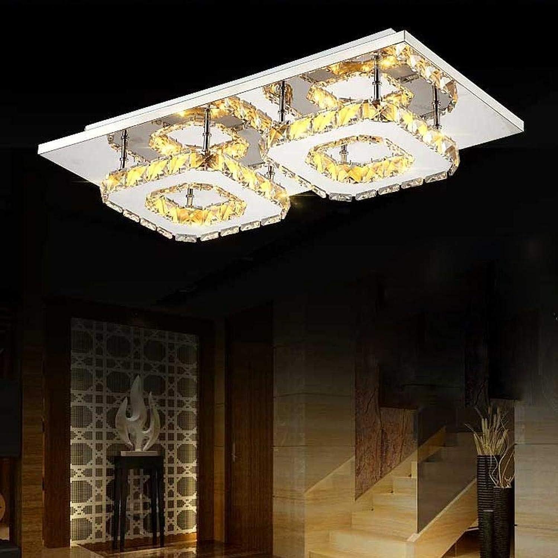 ACZZ Led Silber Crystal 2 Head Schlafzimmer Deckenleuchte, für Wohnzimmer, Arbeitszimmer, Restaurant