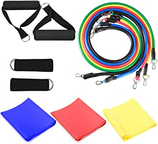 14pcs Resistance Bands Set Workout Fitness Exercise Tube Bands Door Anchor Ankle Straps Cushioned Handles with Yoga Stretc...