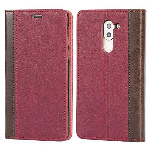 Mulbess Cover per Honor 6X, Custodia Pelle con Funzione Stand per Huawei Honor 6X / 6X PRO [Book Case], Vino Rosso