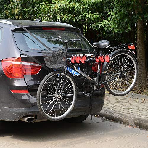 HOMCOM Fahrradheckträger für 3 Fahrräder Fahrradträger Heckträger faltbar mit Sicherheitsseile Metall + Kunststoff - 4