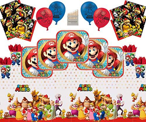 Mario Party Supplies Artículos para la fiesta de Mario Paquete de vajilla para el feliz cumpleaños de Super Mario Bros Brothers para 16- Mario Plate Cup Servilleta Servilleta