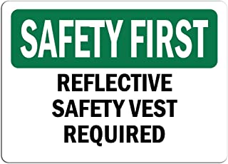 Safety First Sign - Reflective Safety Vest Required |   Label Decal Sticker Retail Store Sign Sticks to Any Surface 8