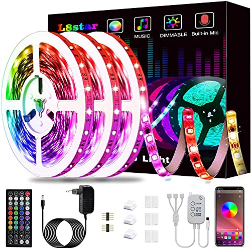15m Tiras LED, L8star Tiras de Luces LED Smart 5050 Control APP,Luces Led Habitacion con Controlador Bluetooth Sincronizar, con Música Solicitar TV Dormitorio