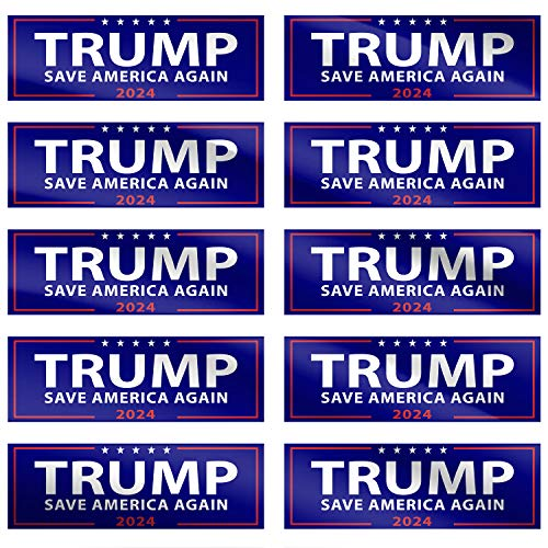 10 Pack Donald Trump 2024 Save America Again Decal 9 x3  Bumper Sticker for Car, House, Window, Laptop