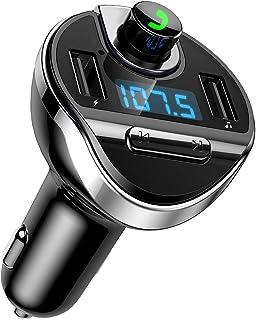 (2019 New) Bluetooth FM Transmitter for Car, Bluetooth Car Adapter FM Radio Transmitter, Dual USB Car Charger, Hands Free Calling, U Disk, TF Card MP3 Music Player Car Kit(Black)