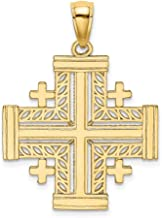 14k Yellow Gold Cut Out Jerusalem Cross Religious Crusaders Pendant Charm Necklace Eastern Orthodox Fine Jewelry Gifts For Women For Her