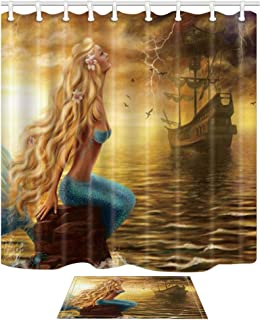 KOTOM Mermaid Shower Curtain Bath Rug, Fairytale Girls and Pirate Ship on Ocean at Storm Rain, 69X70in Fabric Bathroom Curtains with 15.7x23.6in Flannel Non-Slip Floor Doormat Rugs