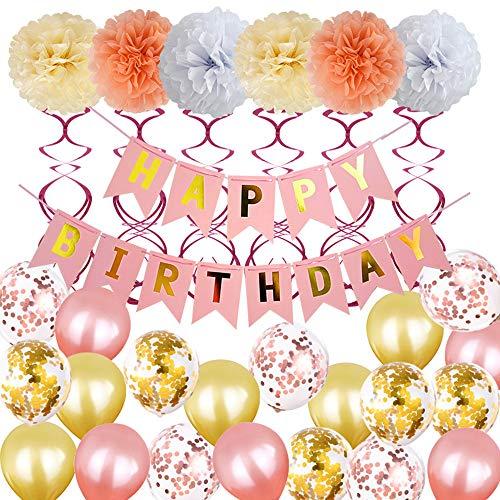 VAINECHAY Decorazioni Feste di Compleanno Striscioni di Buon Compleanno Palloncino Oro Rosa Elio Lattice Pom Pom di Carta per Compleanno Matrimonio Baby Shower