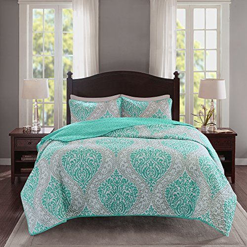 Comfort Spaces Coco 3 Piece Quilt Coverlet Bedspread Ultra Soft Printed Damask Pattern Hypoallergenic Bedding Set, Full/Queen, Teal - Grey
