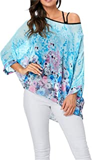 iNewbetter Womens Floral Batwing Sleeve Chiffon Beach Loose Blouse Tunic Tops