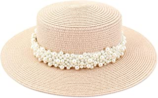 Beach Hat Women Travel Sun Hat Flat Top Hat Outdoor Travel Straw Holiday Pearl Weaving Belt Aristocratic Hat (Color : Light Pink, Size : 56-58CM)