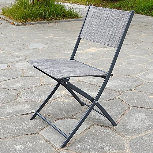 Folding Chairs Silla de Ocio portátil al Aire Libre Silla Plegable para el hogar Cafetería Silla de Comedor con Silla de Hierro Forjado Silla Plegable de Tela (Color : Flower Gray)