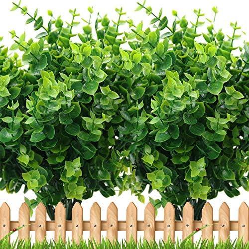 Artificial Plants Greenery Boxwood Shrubs 8 Bundles Fake UV Resistant Stems No Fade Faux Plastic product image