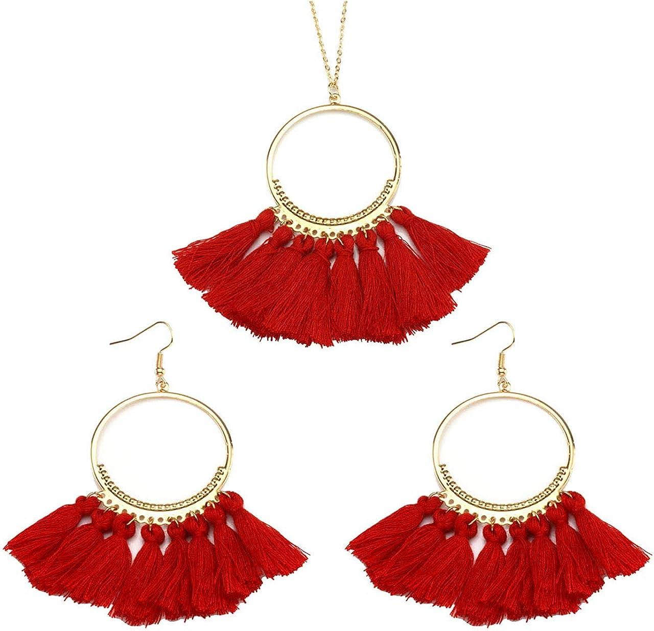 Manfnee Tassel Bohemian Earring Alloy Dangle&Drop Leather Teardrop Wood Earrings Jewelry Women