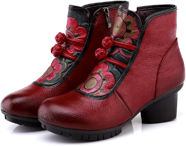 LingGT kvinnor Martin stövlar Vintage läder Block Ankle skor (färg (färg (färg  röd, Storlek  CA 8)  shoppa nu