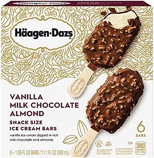 Haagen-Dazs Vanilla Milk Chocolate Almond Snack Size Ice Cream Bars, 1.85 fl oz, 6 count (Frozen)