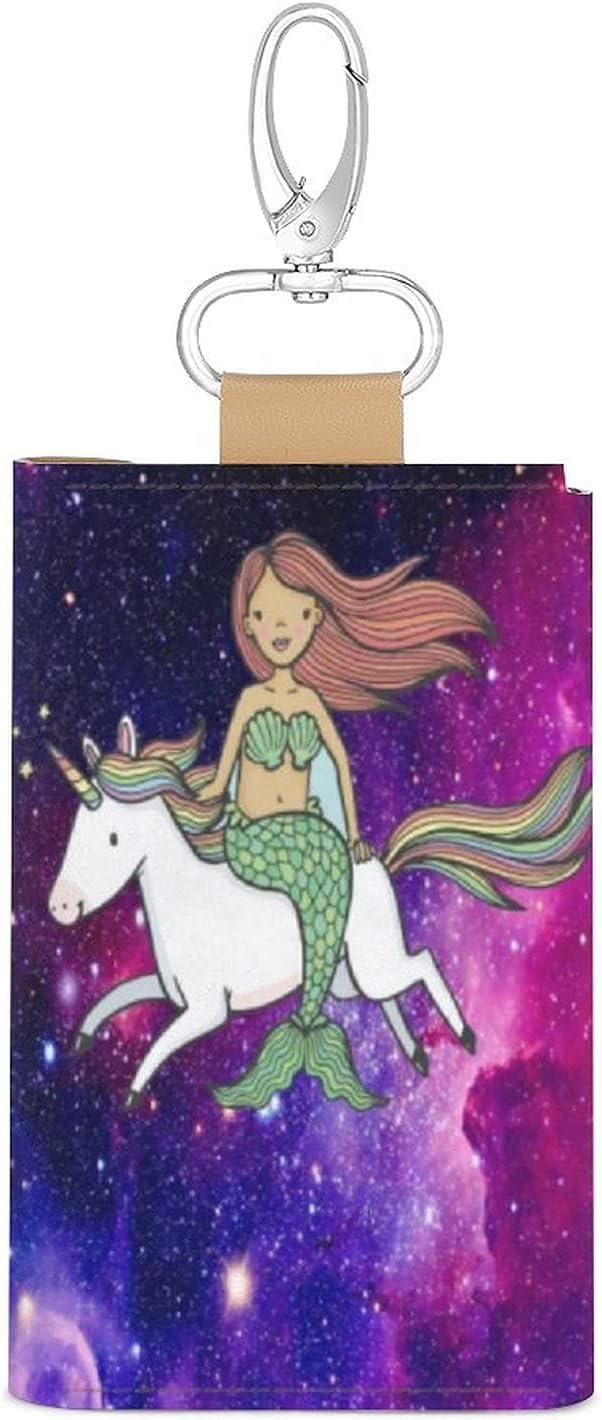 Key Organizer Unicorn Little Mermaid with Unicorn Galaxy Key Holder Leather Car Key Cover Keychain