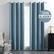 MIULEE Linen Texture Curtains for Bedroom Solid 100% Blackout Thermal Insulated Dusty Blue Curtains Grommet Room Darkening Curtains/Draperies Luxury Decor for Living Room Nursery 52x84 Inch (2 Panels)