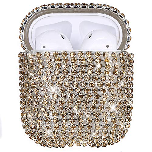 Uposao Kompatibel mit AirPods 2 Hülle Bling Glänzend Glitzer Strass Diamant Hülle für Mädchen Hartplastik Stoßfeste Schutzhülle Hart PC Hülle für AirPods 2 Ladecase Tragbare Hülle,Gold