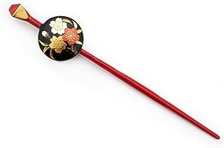 (ソウビエン)平打簪 かんざし 黒 赤 桜 レトロ モダン ヘアアクセサリー