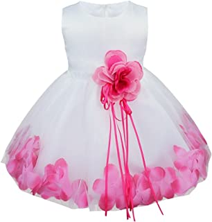 Baby Girls Flower Petals Bow Bridal Dress Princess Pageant Wedding Bridesmaid Christening Formal Party Ball Prom Gown