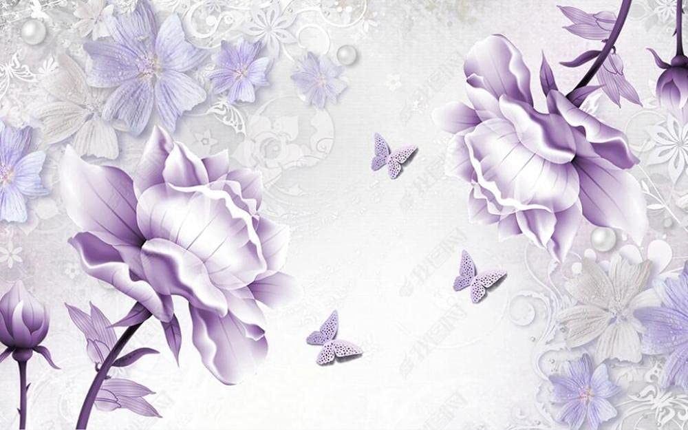 Overseas parallel import regular item Wall Murals Wallpaper Purple Manufacturer direct delivery Wallpap Flower Mural Butterfly