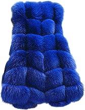 Bsjmlxg Plus Size Women's Faux Fur Vest Long Solid Fur Waistcoat Jacket Winter Warm Sleeveless Coat Outwear