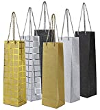 Wine Gift Bags - 6 Pack Wine Bags with Handles, Wine Bottle Gift Bag for Anniversary, Birthday, Business Function, All Occasion, 6 Foiled and Glitter Designs with Handles, 3.8 x 3.3 x 14 Inches