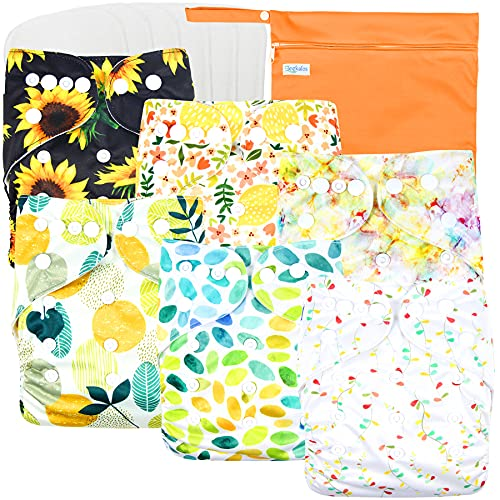 Leekalos Cloth Diapers Reusable for Boys and Girls, Baby Diaper Cloth with Bamboo Inserts & Wet Bag (FallColors)