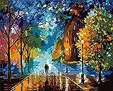 Pintura Por Números Para Adultos Y Niños: Amantes En Una Calle Romántica Set De Lienzo Para Otoño Avanzado Sin Marco 40X50 Cm