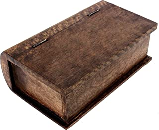 Artisans Of India Book Style Wooden Keepsake Box Storage Jewelry/Trinket Organizer Hand Carved with Rustic Finish