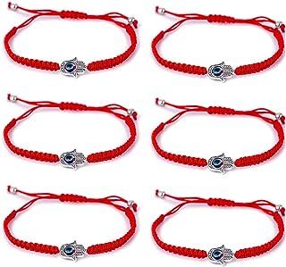 TOMLEE 6 Pulseras de la Amistad con Cuerda de Mano de Fátima para protección y Suerte, Tejidas a Mano, Color Rojo y Negro, Pulsera Tobillera de la Amistad