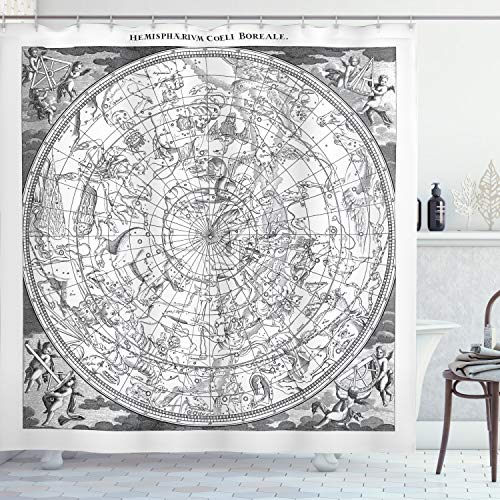 Ambesonne Constellation Shower Curtain, Detailed Vintage Boreal Hemisphere Astronomy Antique Artwork Print, Cloth Fabric Bathroom Decor Set with Hooks, 70
