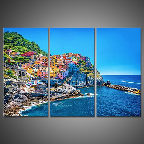 3 Pieces Cityscape Seaside Canvas Painting Wall Art Picture Home Decoration Print Giclee Artwork Modern Traditional Port Mediterranean Sea Cinque Terre Italy Coast Landscape Photograph by uLinked Art