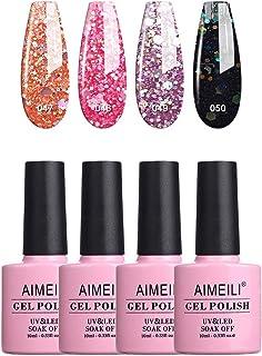 AIMEILI Soak Off UV LED Gel Nail Polish Multicolour/Mix Colour/Combo Colour Set Of 4pcs X 10ml - Kit Set 6