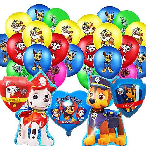 Paw Dog Patrol Luftballon ,Geburtstag Dekoration Set, Folienballon Paw Geburtstag Dekoration Luftballon Happy Birthday Deko Luftballon