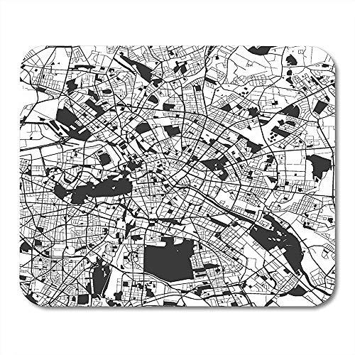 Gaming Mat Administratieve Berlijn Monochrome Kaart Artprint Outline Klaar voor Kleurverandering Gescheiden op White Bode Mouse pad Matten 25X30cm