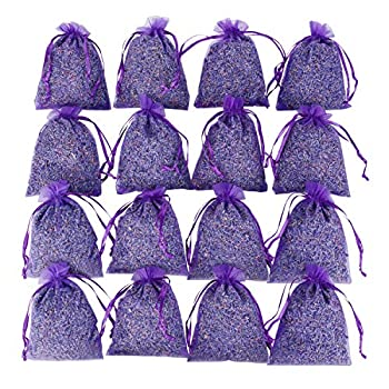 16 Purple French Dried Lavender Sachets Craft Bag - Lavender Sachets Wedding Toss Home Fragrance Sachets Drawers Dressers Lovely Dried Lavender Flower Buds Sachets LV-S-C-1