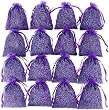 16 Purple French Dried Lavender Sachets Craft Bag - Lavender Sachets Wedding Toss, Home Fragrance Sachets Drawers Dressers, Lovely Dried Lavender Flower Buds Sachets, LV-S-C-1