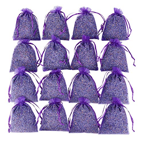 16 Purple French Dried Lavender Sachets Craft Bag - Lavender Sachets Wedding Toss, Home Fragrance Sachets Drawers Dressers, Lovely Dried Lavender Flower Buds Sachets