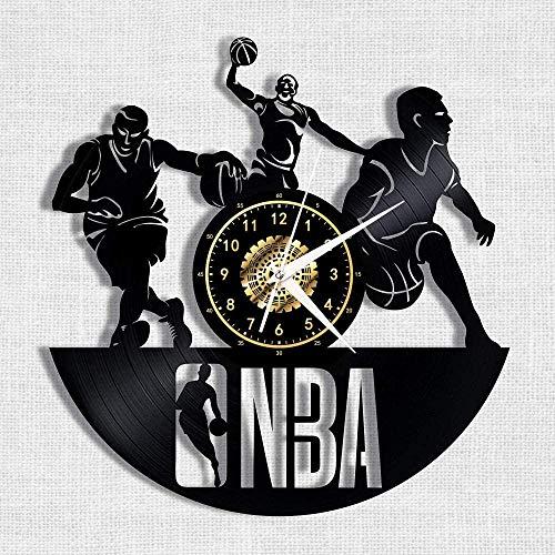 Reloj de Pared con Disco de Vinilo de Baloncesto de la NBA, Silueta nostálgica, Registro de Arte Hecho a Mano, decoración de Dormitorio, Regalo de 12 Pulgadas, sin luz LED