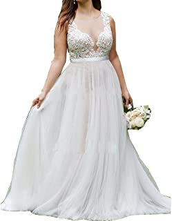 Women's Plus Size Wedding Dresses Round Neck Bridal Gowns Outdoor Prom Dress