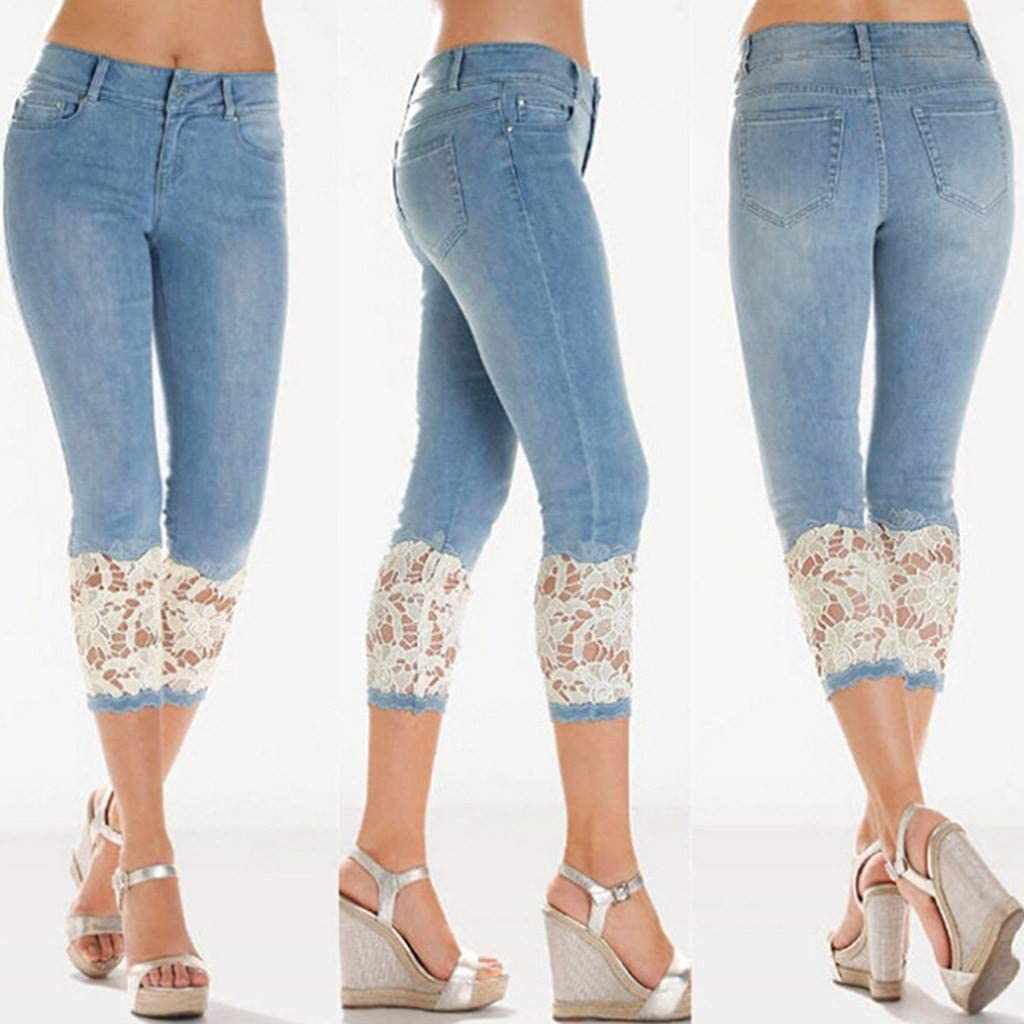 Jeans for Women Bootcut, Womens Casual Patch Ripped Boyfriend Distressed Stretch Skinny Denim Jeans with Hole