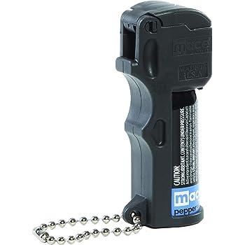 "Mace Brand Self-Defense Triple Action 3-in-1 Formula, 10' Mace Pocket Pepper Spray with Tear Gas and UV Marking Dye, Flip n' Grip, 11 Grams, 3.25"" x 1.25"" Pocket Size (80141), Black"