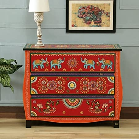 JAE Wooden Handpainted Chest of Drawer | Wooden Antique Cabinet for Storage | Solid Wood Chest | Wooden Drawer Furniture | 3 Drawers | Red