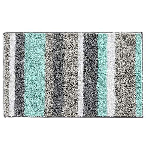 Pauwer Alfombrillas de baño de Microfibra Absorbente Antideslizante Tapete del Piso Suave Alfombra de Baño de Lavable a Máquina,Verde,50x80cm