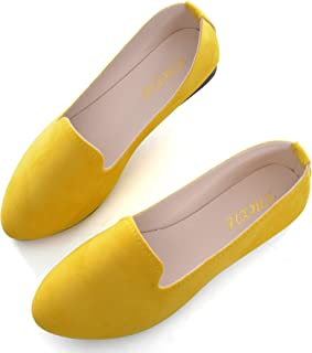 Slduv7 Women Pointed Comfortable Flat Ballet Shoes