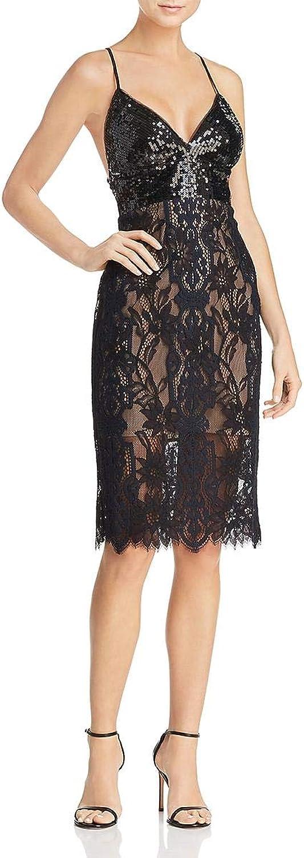 BCBG Max Azria Womens Elvita Lace Sequined Cocktail Dress
